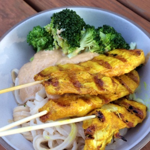 Yellow Chicken Noodle Bowls with Broccoli and Peanut Sauce